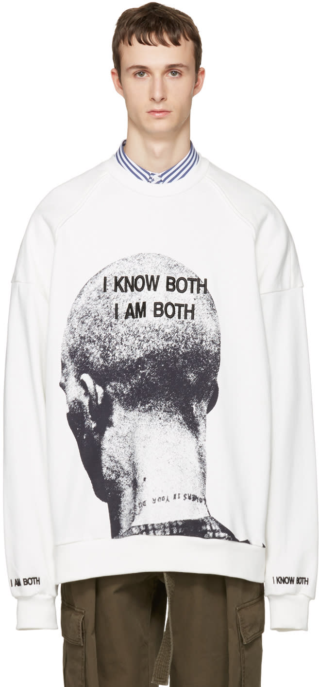 Juun.j White i Know Both I Am Both Pullover