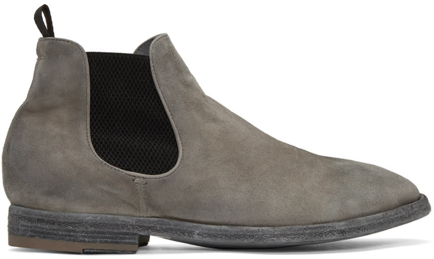 Officine Creative Grey Suede Princeton 47 Chelsea Boots