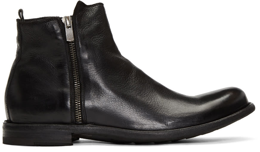 Officine Creative Black Ideal 22 Zip Boots