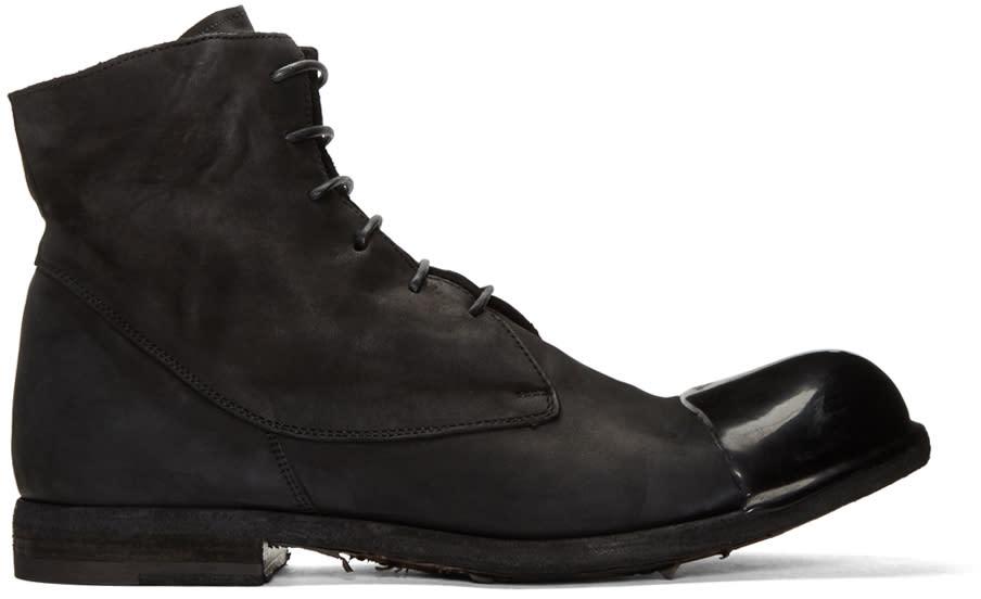 Image of Officine Creative Black Bubble 24 Cap Toe Boots