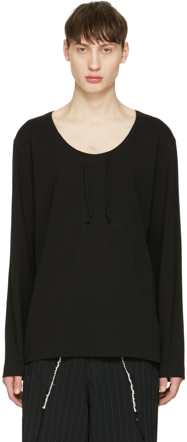 Comme Des Garcons Homme Plus Black Drawstring Long Sleeve T-shirt