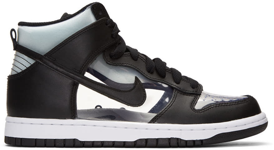 Comme Des Garcons Homme Plus Black Nikelab Edition Dunk Hi Retro Invisible High-top Sneakers
