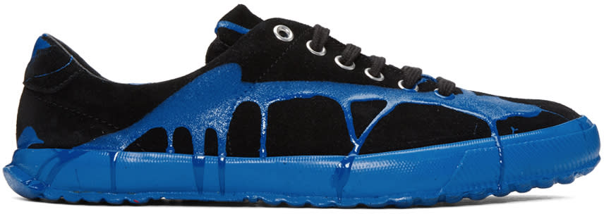 Comme Des Garcons Homme Plus Black and Blue Painted Novesta Sneakers