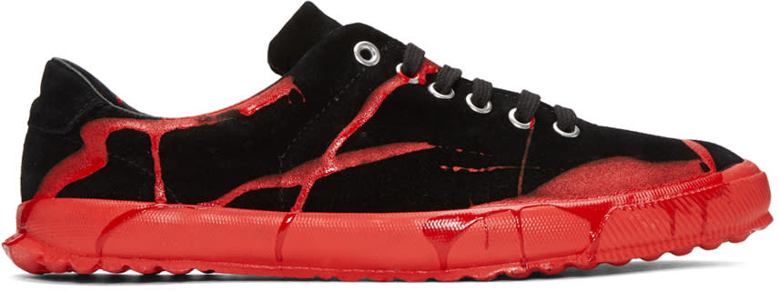 Comme Des Garcons Homme Plus Black and Red Painted Novesta Sneakers