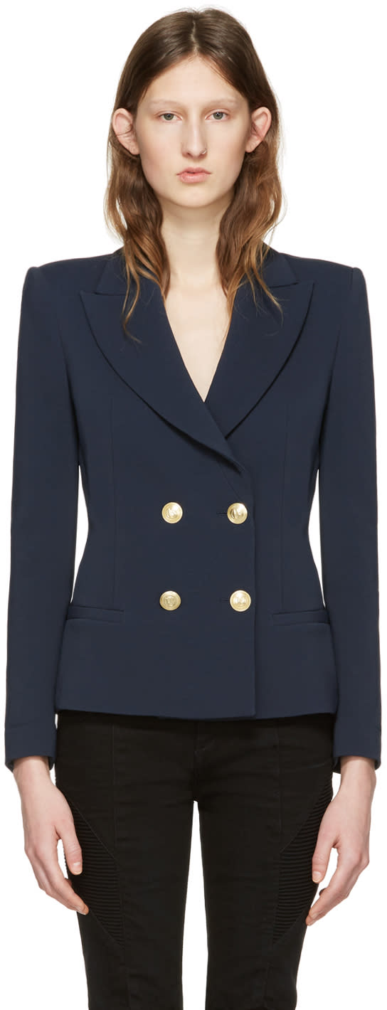 Pierre Balmain Navy Classic Fitted Blazer
