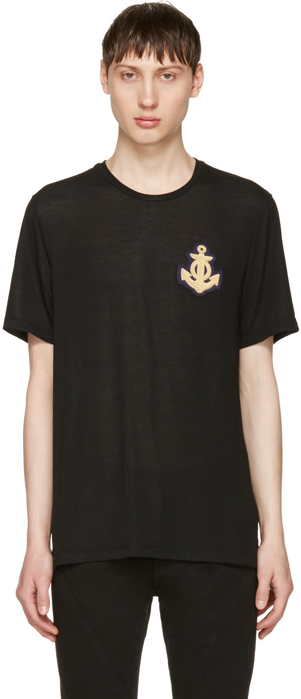 Image of Pierre Balmain Black Anchor T-shirt
