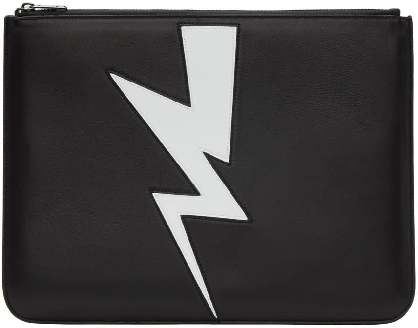 Neil Barrett Black Thunderbolt Zip Pouch