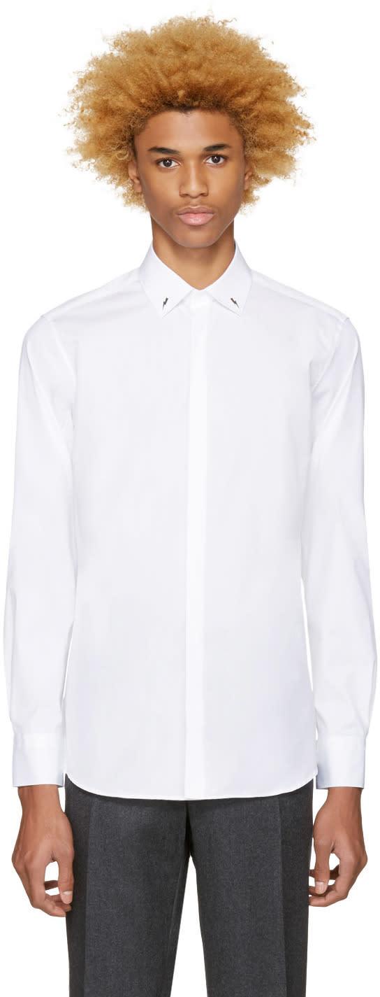 Neil Barrett White Thunderbolt Pin Shirt