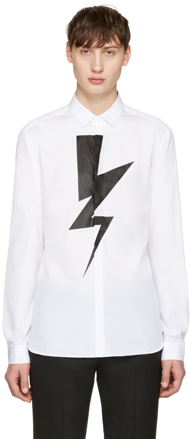 Neil Barrett White Single Thunderbolt Shirt
