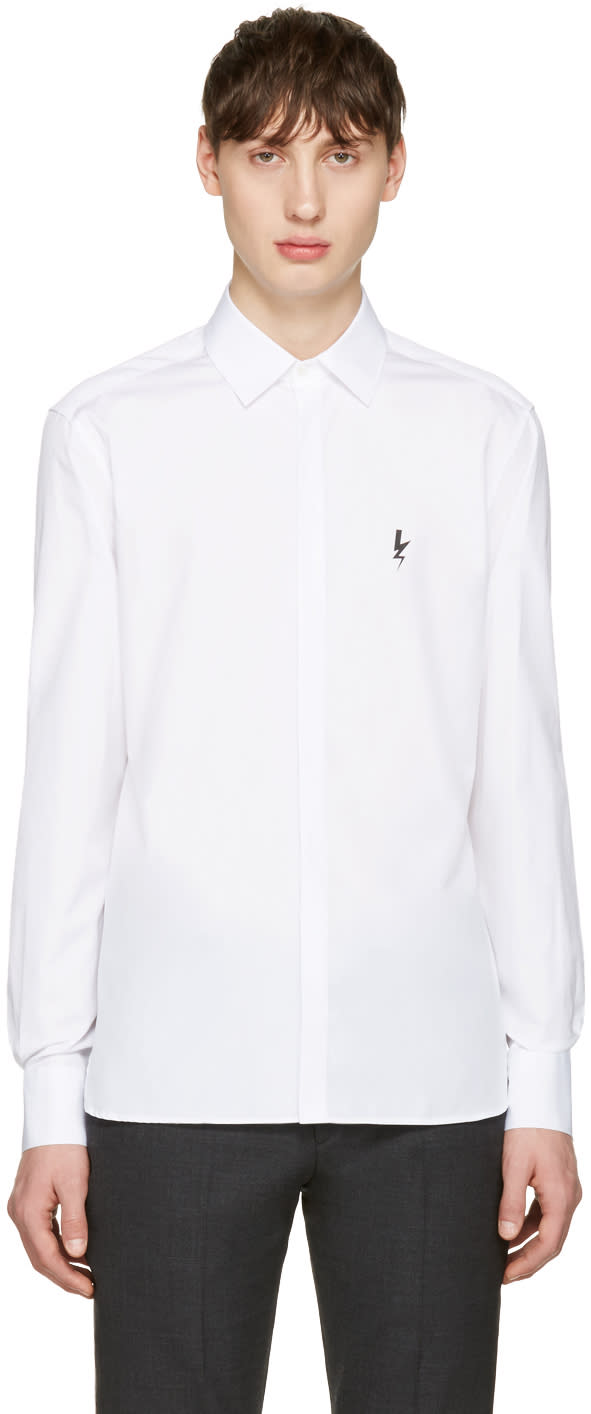 Neil Barrett White Small Thunderbolt Shirt