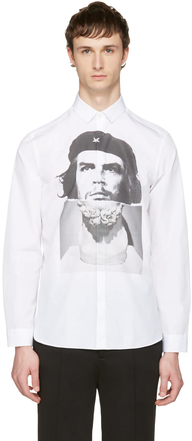 Neil Barrett White Hybrid Marble Guevara Shirt