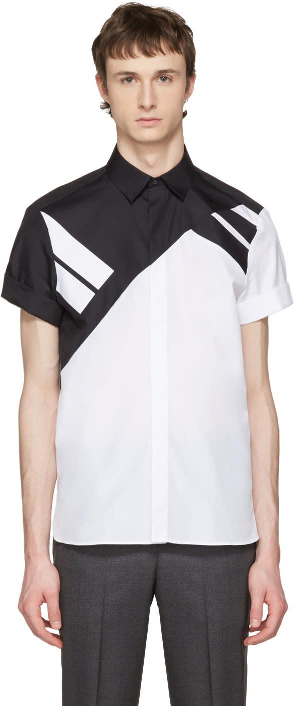 Neil Barrett White and Black Retro Modernist Shirt