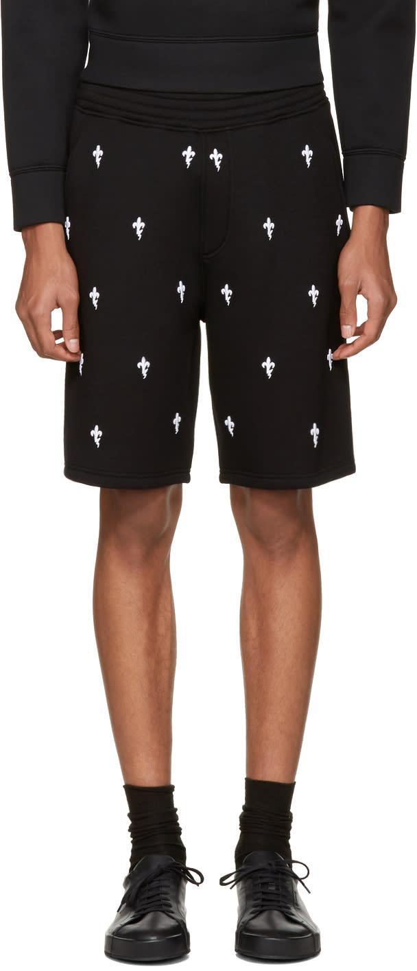 Neil Barrett Black Fleur De Thunder Shorts