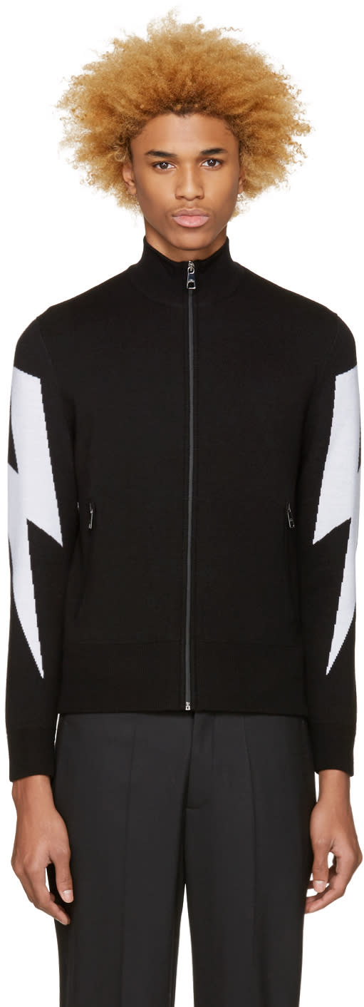 Neil Barrett Black Thunderbolt Zip-up Sweater