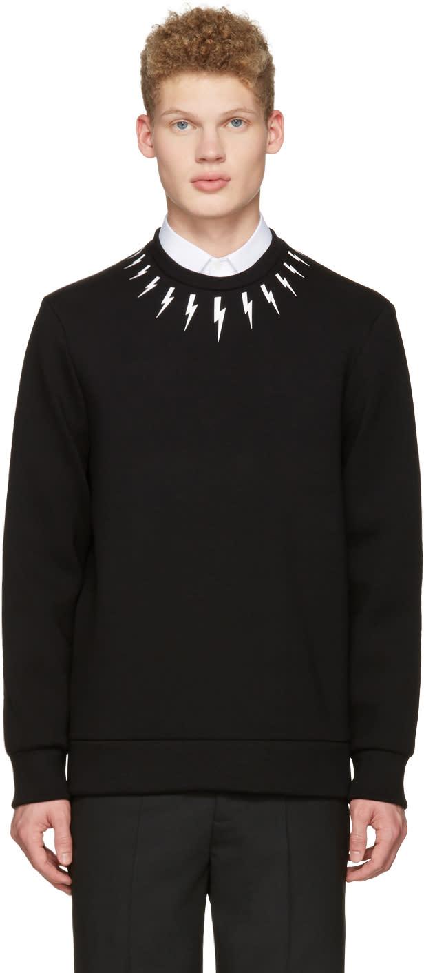 Neil Barrett Black Thunderbolt Collar Pullover