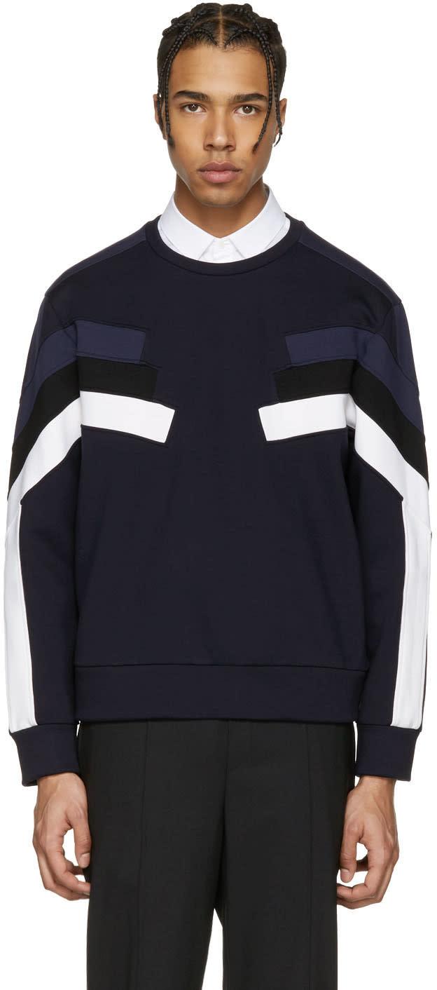 Neil Barrett Navy Panelled Modernist Retro Pullover