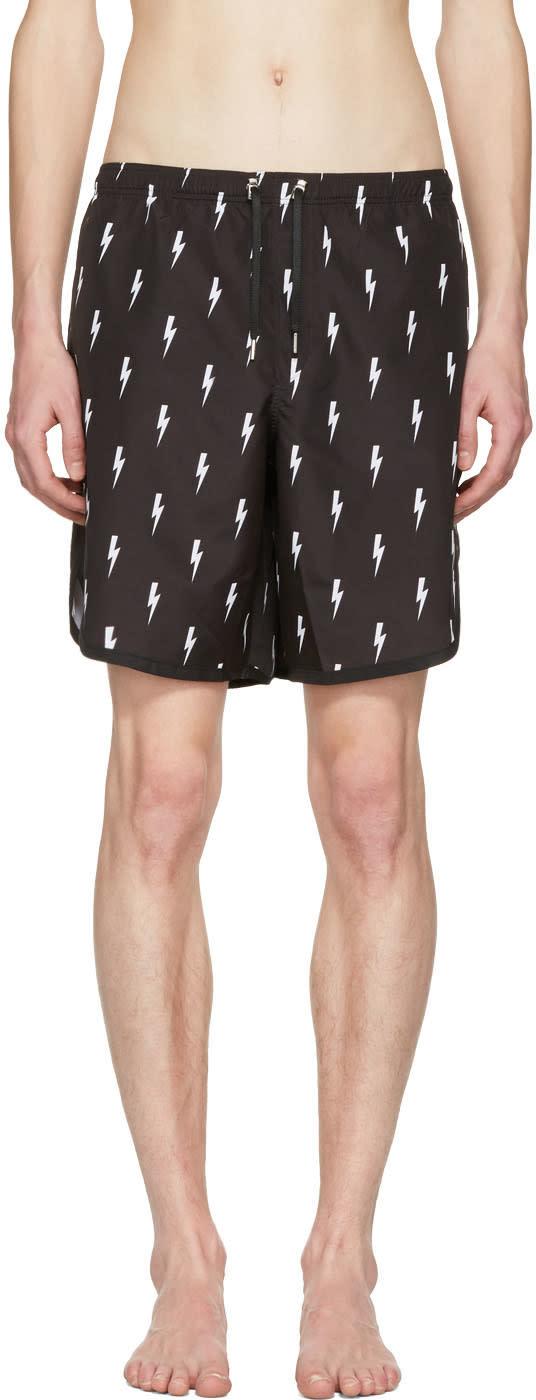 Neil Barrett Black and White Thunderbolt Swim Shorts