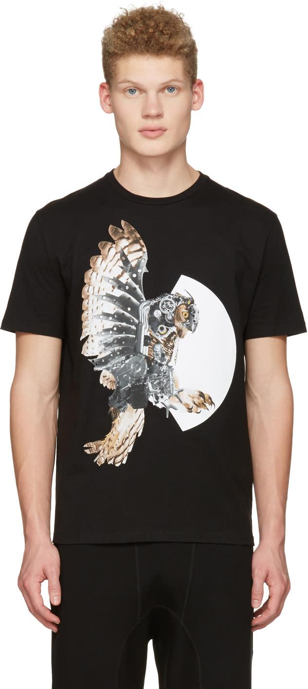 Neil Barrett Black Mechanical Owl T-shirt