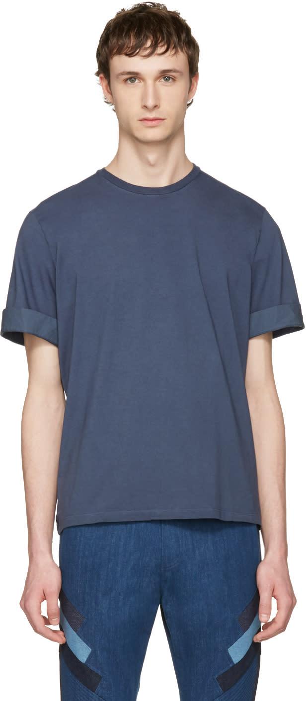 Neil Barrett Indigo Faded Thunderbolt T-shirt