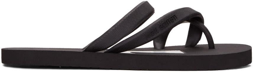 Neil Barrett Black Thunderbolt Flip Flops
