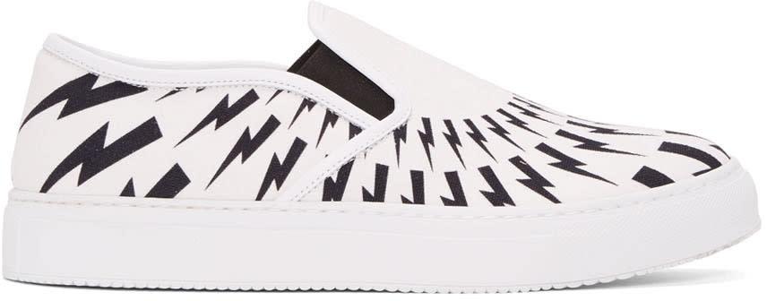 Neil Barrett White and Black Thunderbolt Slip-on Sneakers