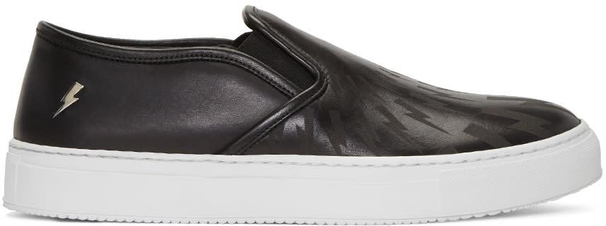 Neil Barrett Black Leather Thunderbolt Slip-on Sneakers