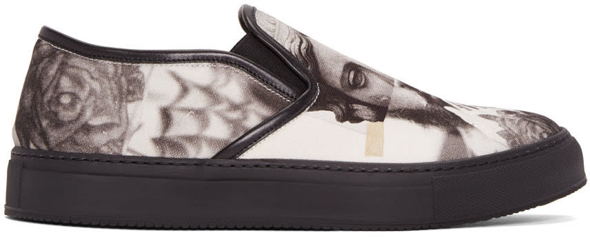 Neil Barrett Black and White Tattoo Statue Slip-on Sneakers