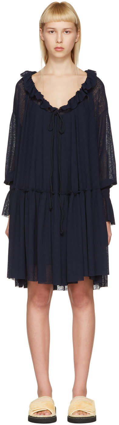 See By Chloe Navy Gauze Jersey Dress