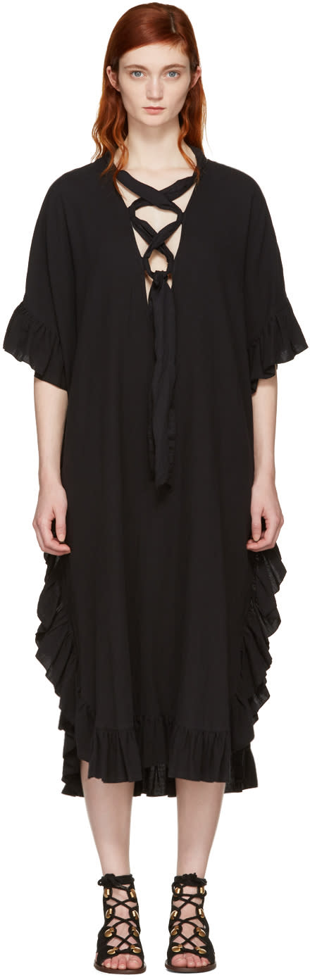 See By Chloe Black Cotton Ruffle Dress