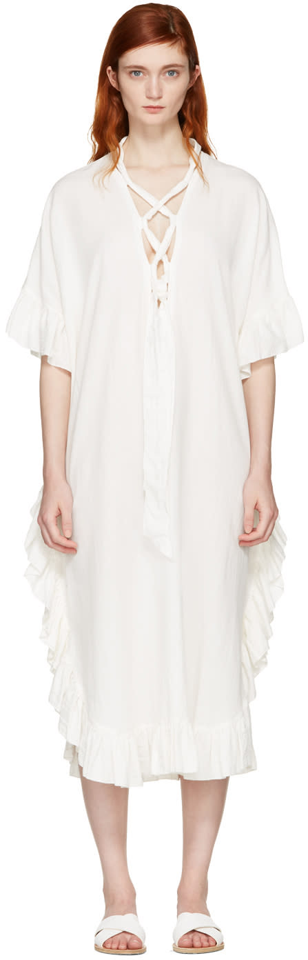 See By Chloe White Cotton Ruffle Dress