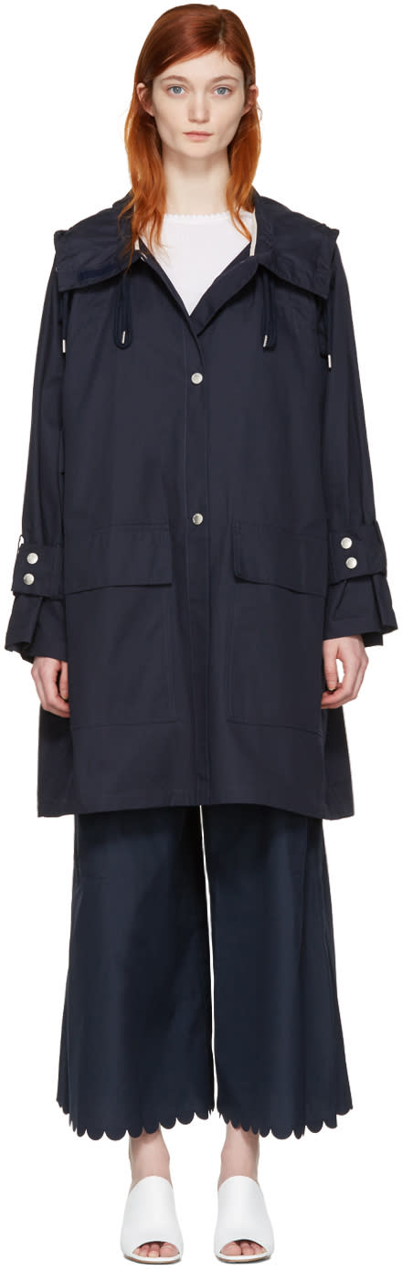 See By Chloe Navy Gabardine Coat