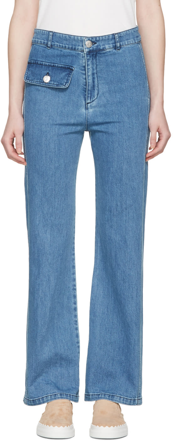 See By Chloe Indigo Denim Flared Jeans