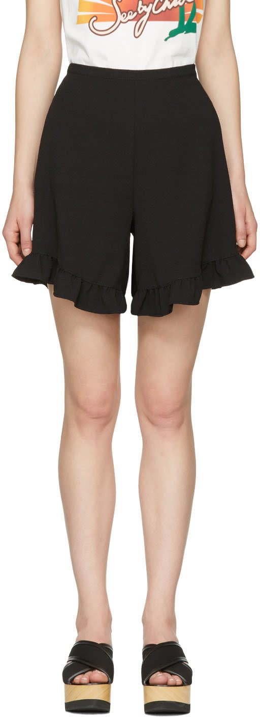 See By Chloe Black Ruffle Shorts