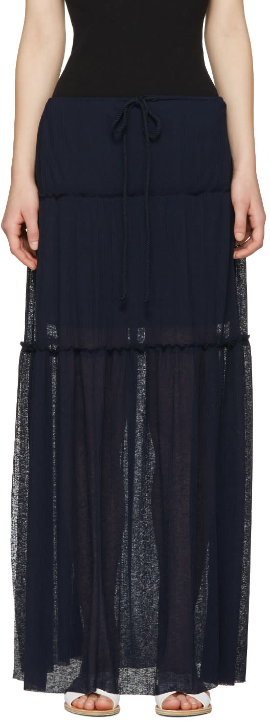 See By Chloe Navy Long Gauze Skirt