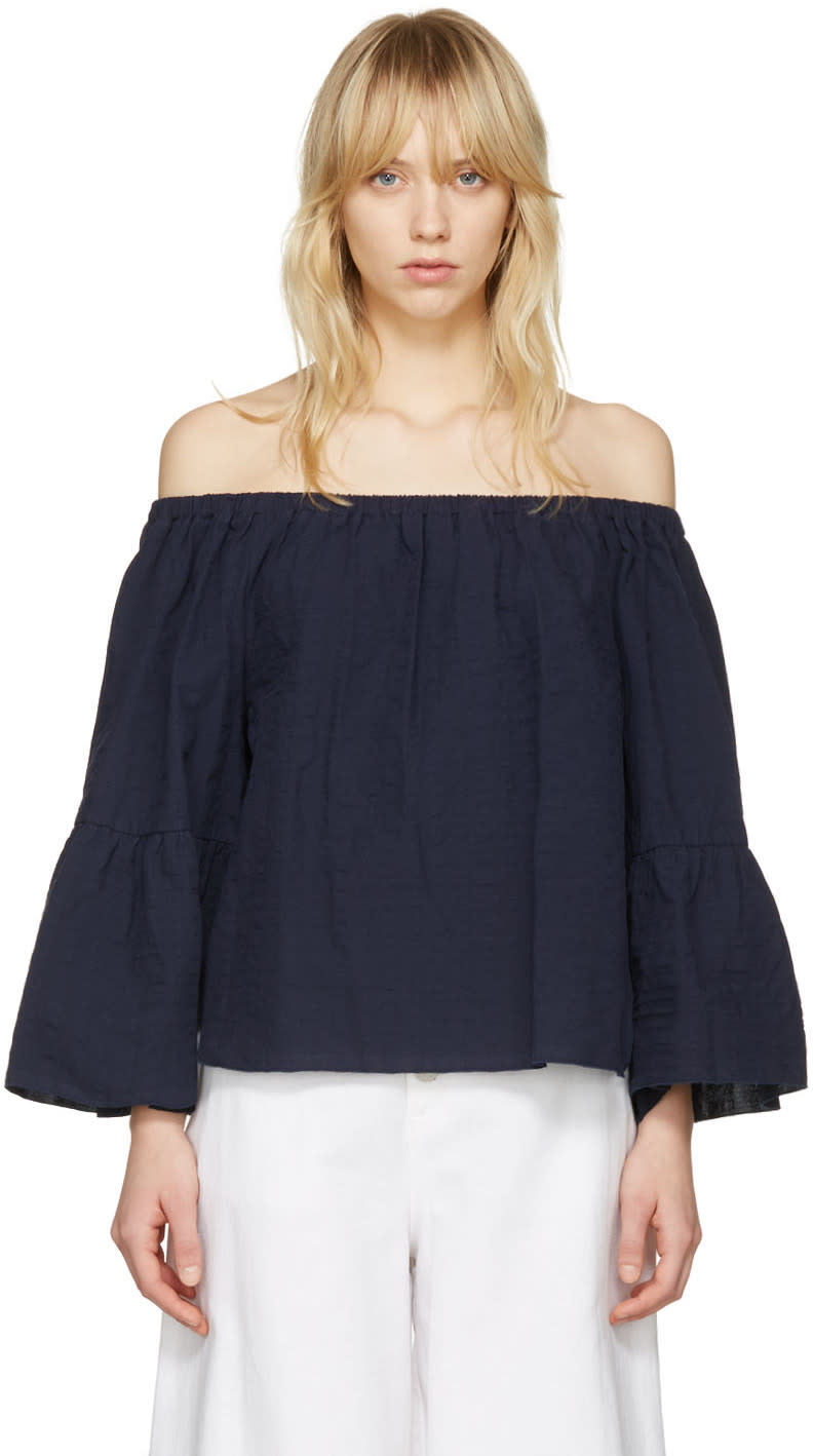 See By Chloe Navy Off-the-shoulder Blouse