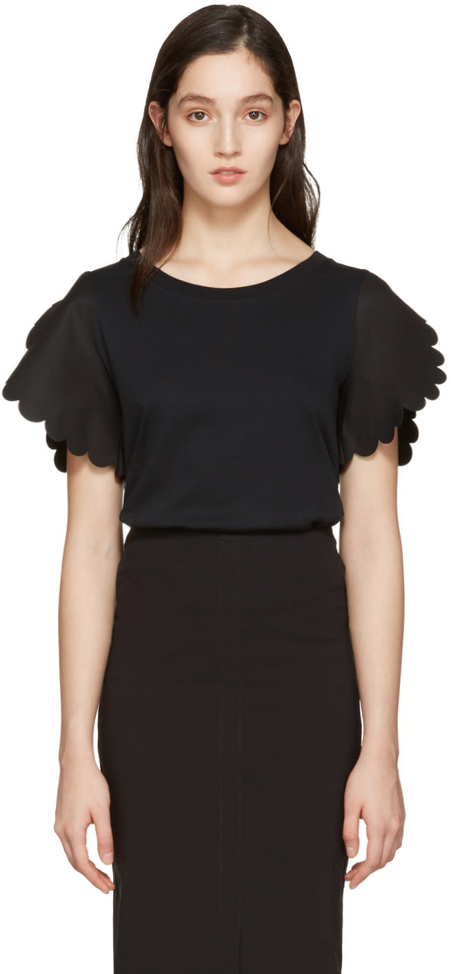 See By Chloe Black Scallop T-shirt