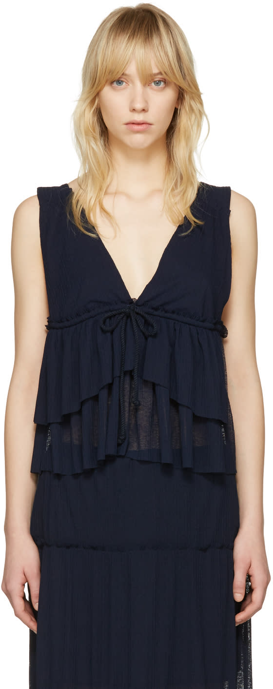 See By Chloe Navy V-neck Tank Top