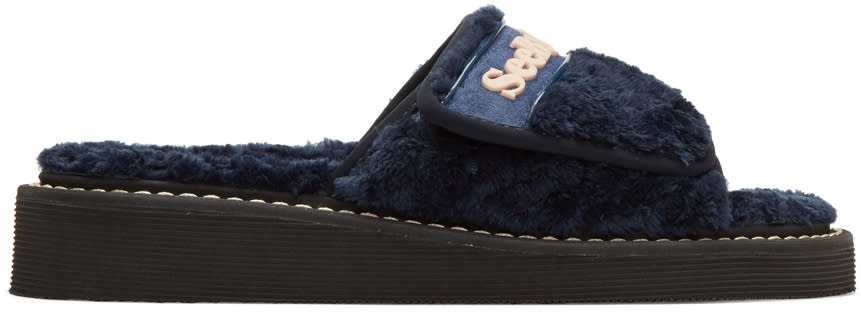 See By Chloe Navy Furry Slide Sandals