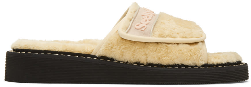 See By Chloe Beige Furry Slide Sandals