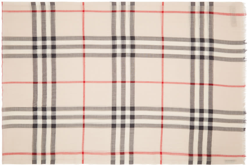 Image of Burberry Beige Giant Check Scarf