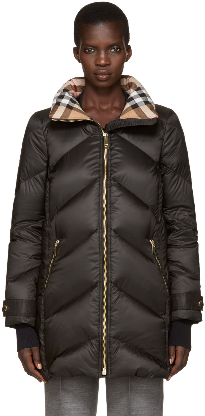 Burberry Black Down Chevron Quilted Coat