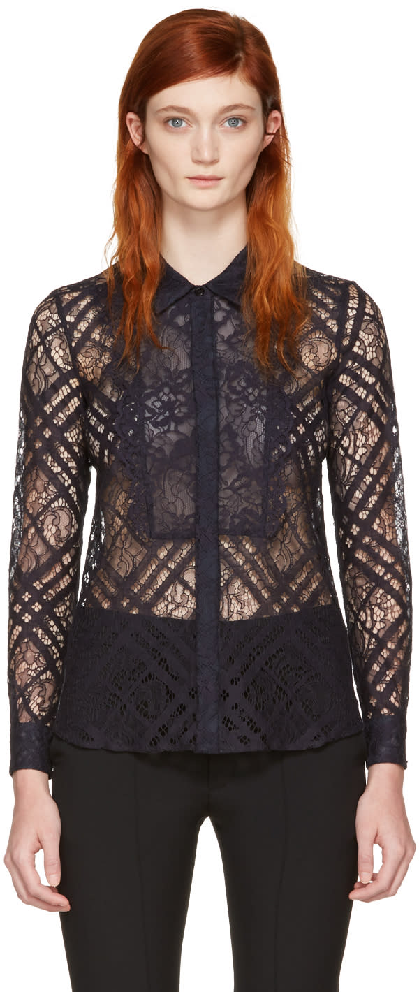 Burberry Navy Lace Aster Shirt