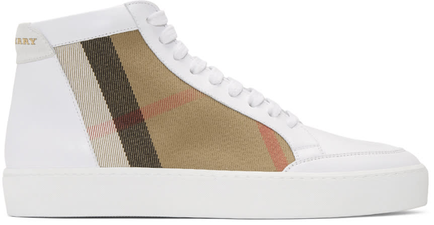 Burberry White Salmond Check High-top Sneakers
