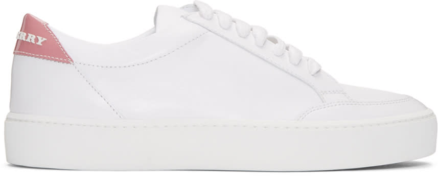 Burberry White Leather Salmond Sneakers