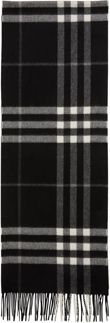 Image of Burberry Black Check Giant Icon Scarf