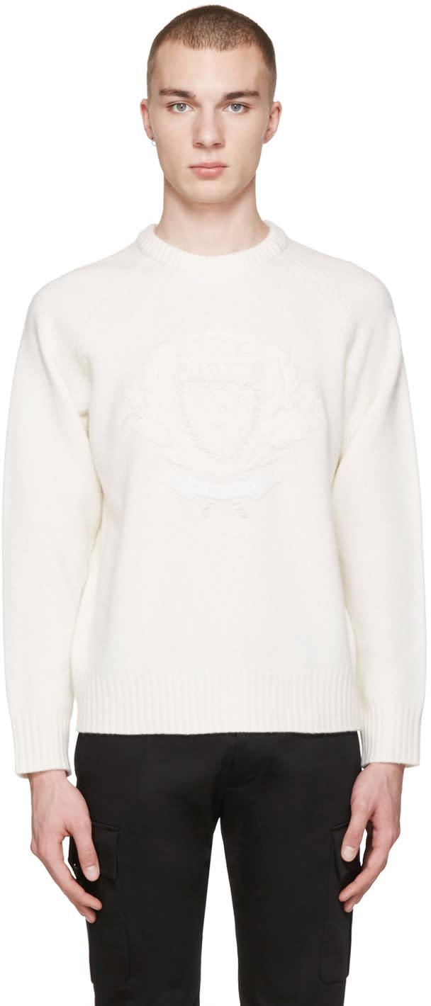 Burberry White Wool Bexhill Sweater