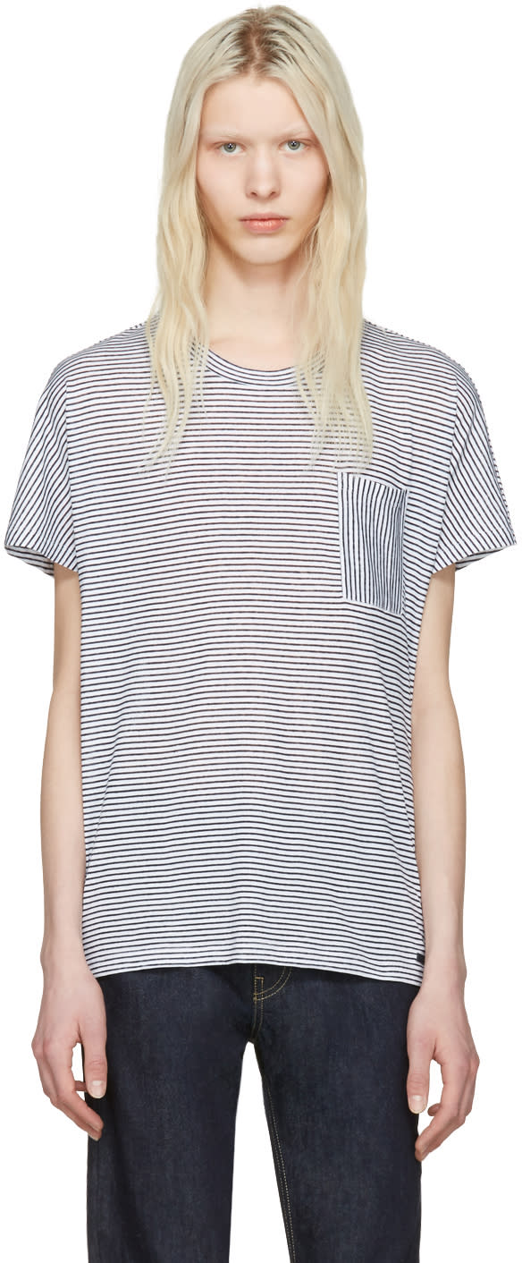 Burberry White and Blue Striped Milford T-shirt