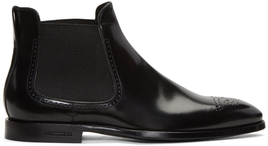 Burberry Black Davy Mod Chelsea Boots