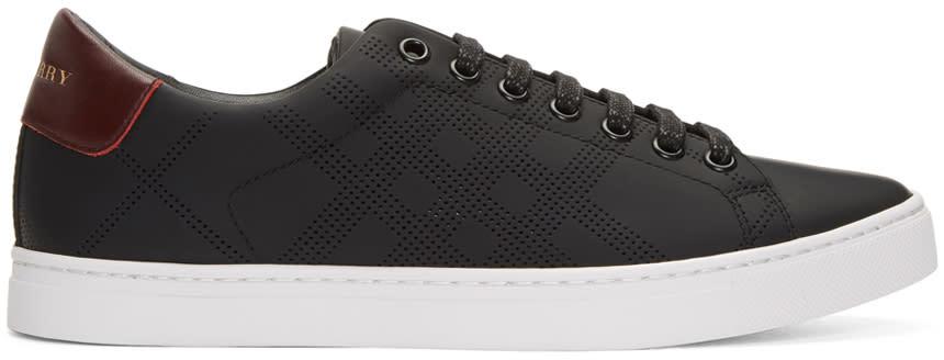 Burberry Black Perforated Check Albert Sneakers
