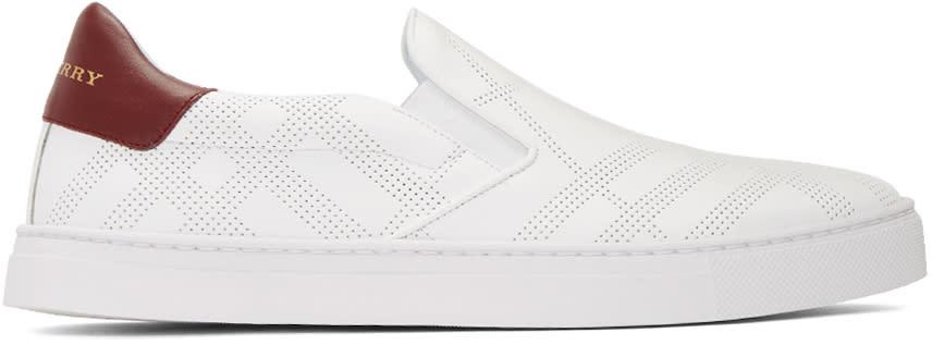 Burberry White Copford Check Slip-on Sneakers